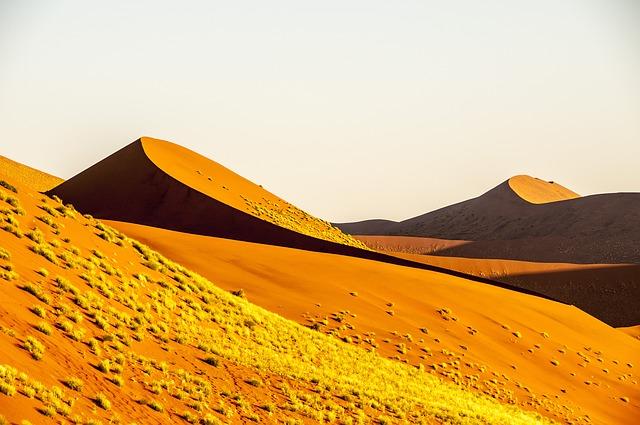 Large orange sand mounds