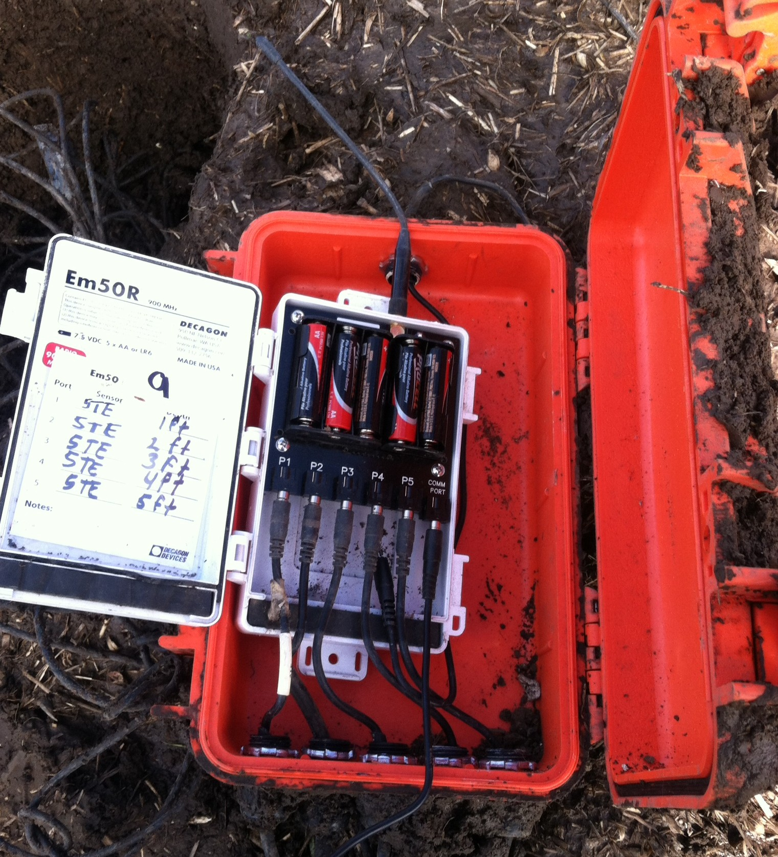 Data Logger in an orange bury-able box sitting on next to installation site