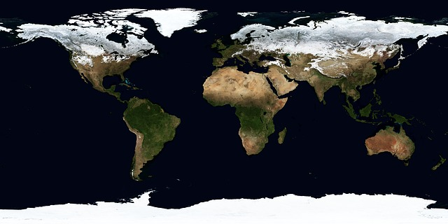Image of the world from a satellite view