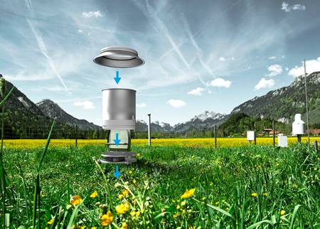 Image of Lysimeters in a field and a diagram of whats inside the Lysimeters