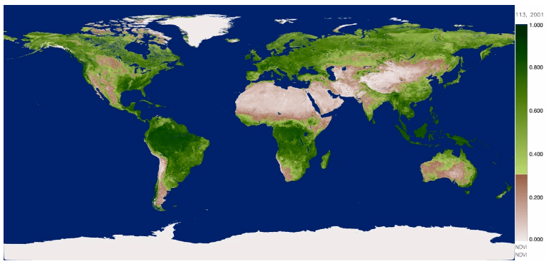 Flat map of the earth depicting NDVI amounts covering the contents
