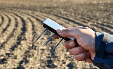Image of a researcher holding a TEROS 12 in front of a field
