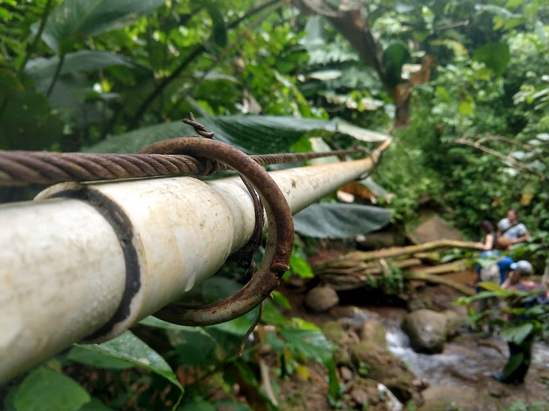 Water line supplying 20 village homes with water during the rainy season