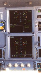 """Pilots see a warning that the engine is """"cooling"""" on the central display after they have initiated the start-up process. Cooling time can be more than 2 min. per engine. Credit: Jens Flottau/AW&ST"""