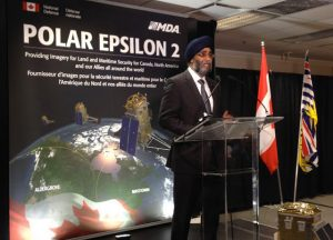 Defence minister Sajjan at MDA HQ in BC on June 17th, to announce the latest MDA contract. Photo c/o MDA.