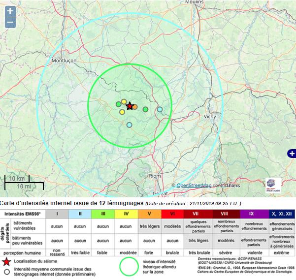 Séisme de magnitude 3,7 à Riom , en Limagne