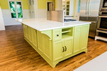 Calcutta marble kitchen island with range
