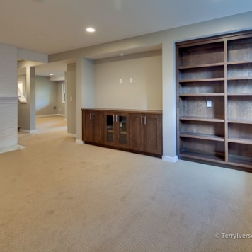 Tuftex nylon loop carpet in basement entertainment room