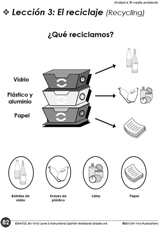Español ¡En Vivo! Instructional Spanish Workbook Grade 4-8