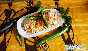 Gari-couscous med kryddiga grönsaker