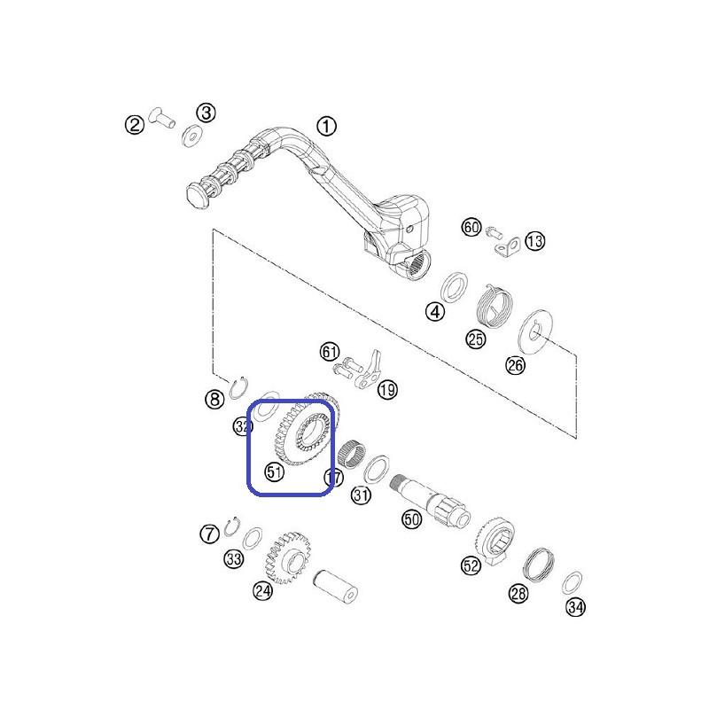 Piñón Pedal Arranque KTM EXC 300 2004 SX 250 03-04 + 06-10