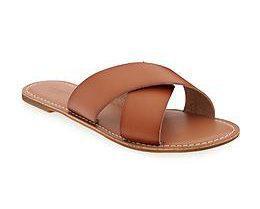 AEO Cross-Strap Slide Sandals tan enza essentials beauty style hacks