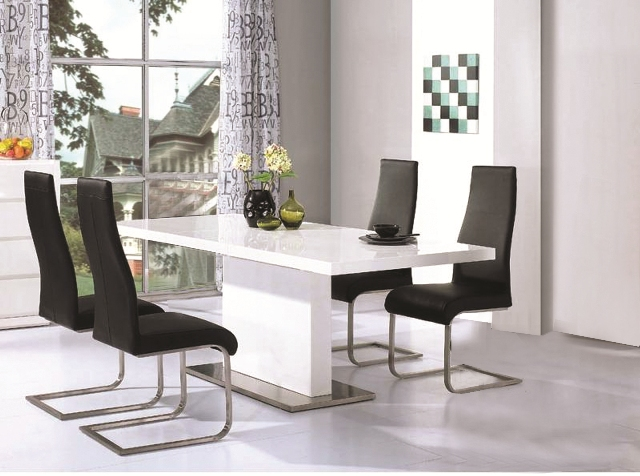 Chaffee High Gloss Dining Table Leather Steel Chairs
