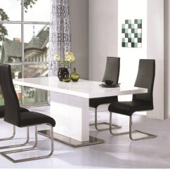 Steel Chair Dining Table Bedroom Placement Chaffee High Gloss Leather Chairs