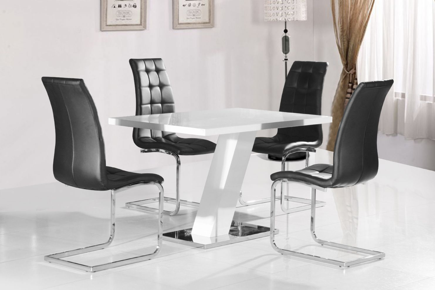 compact dining table and chairs acrylic grazia white high gloss contemporary designer 120 cm
