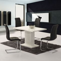 Compact Dining Table And Chairs Chair Covers To Buy In Uk Livio White High Gloss Contemporary Designer 120 Cm