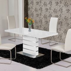 Dining Table And Chair Sets Retro Swivel Mace High Gloss Extending 120 160 Set White