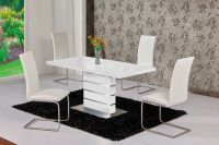 MACE High Gloss Extending 120-160 Dining Table & Chair Set ...