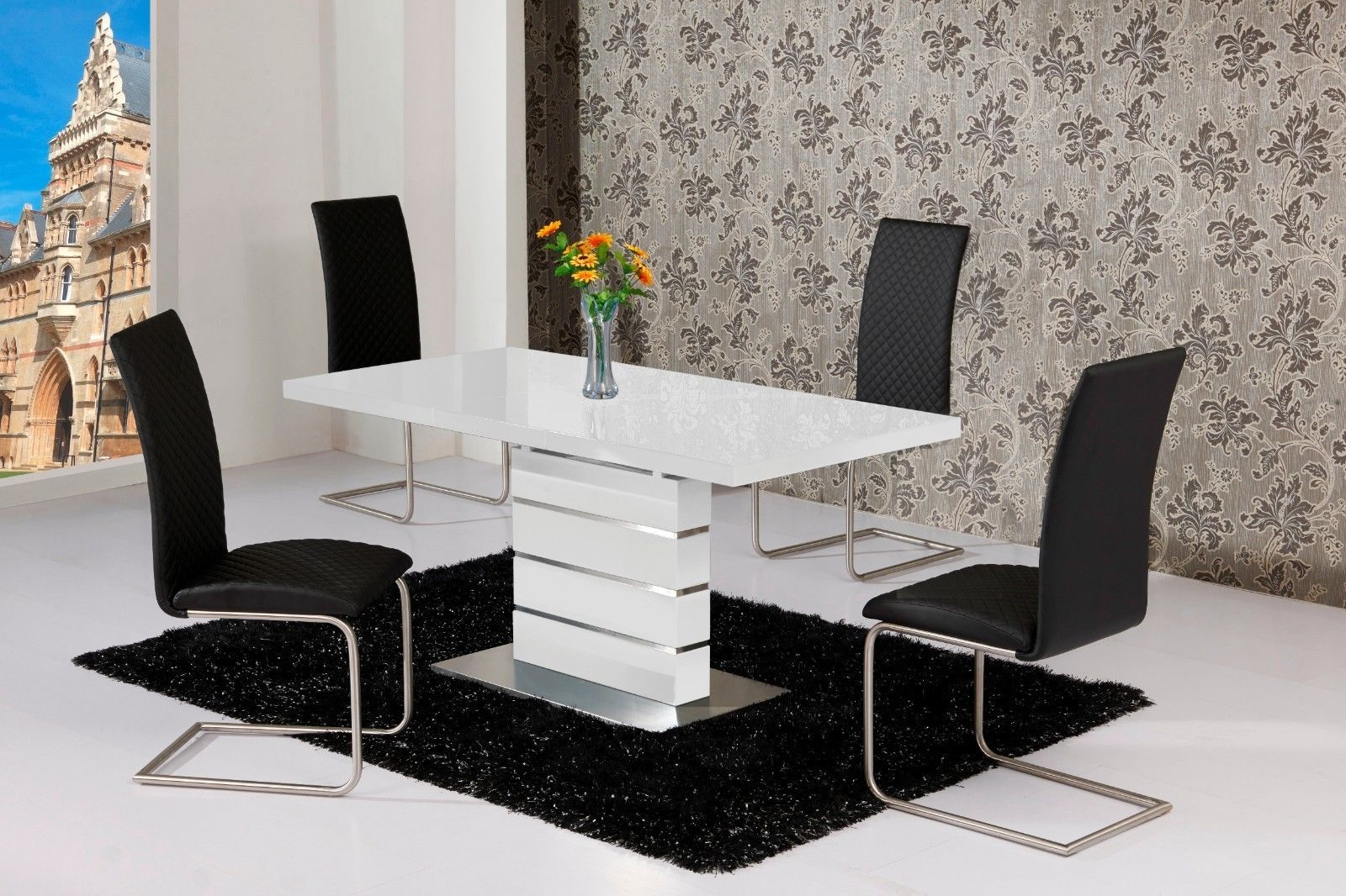 kitchen table chairs set aristokraft cabinets mace high gloss extending 120 160 dining chair white