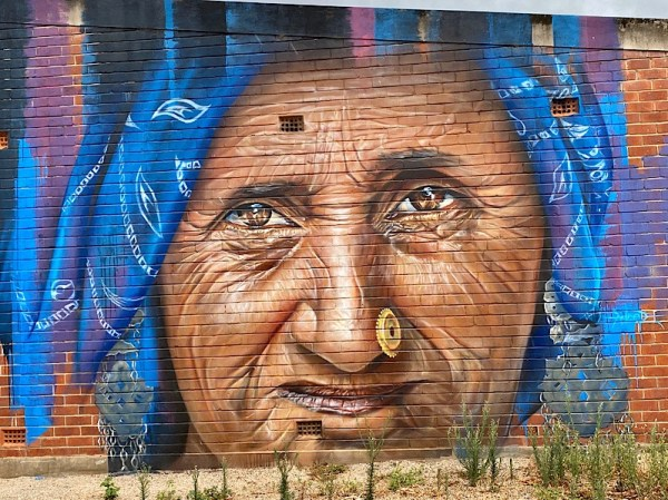 Tumby Bay street art mural portrait of old hill tribe woman