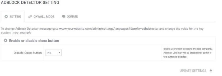 Ad Blocking Detector Admin Settings