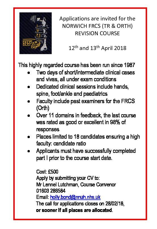 Norwich FRCS Course 2018 (April 12-13th) **Limited Places**