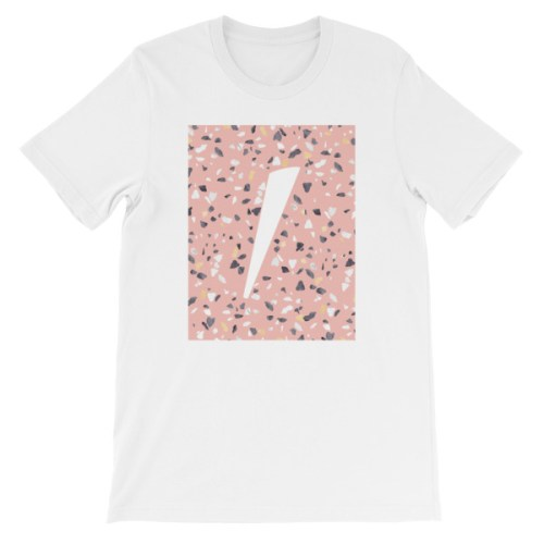 Tshirt blanc logo eole paris Collection Terrazzo pink quartz