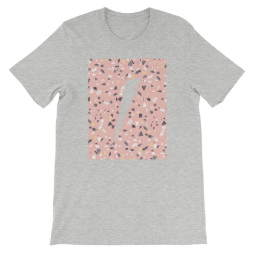 Tshirt gris logo eole paris Collection Terrazzo pink quartz
