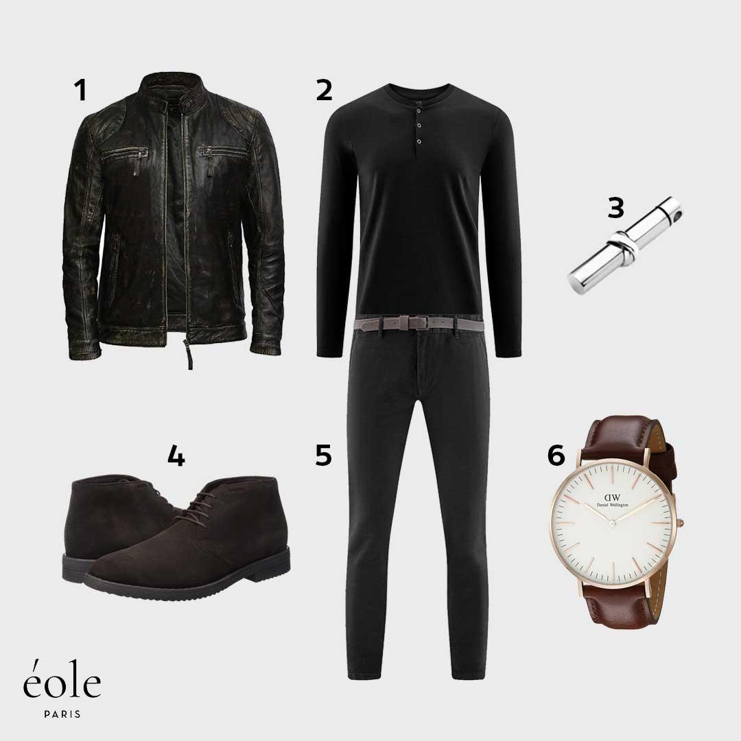 Look Casual Chic | Mi-Saison | Veste Cuir Noir, Deserts Marron, Pendentif Personnalisé…