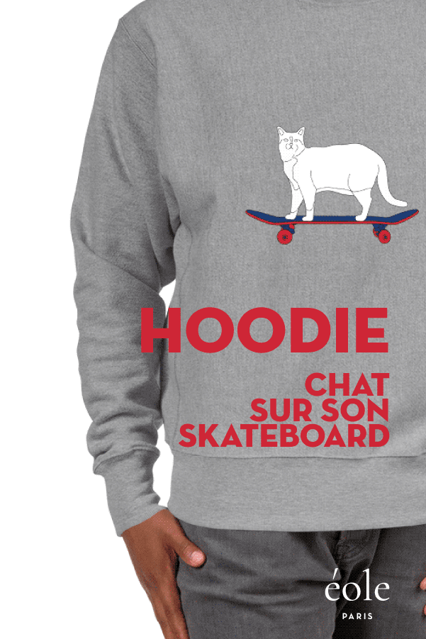 Sweat Grey - Cat And Skate - EOLE PARIS