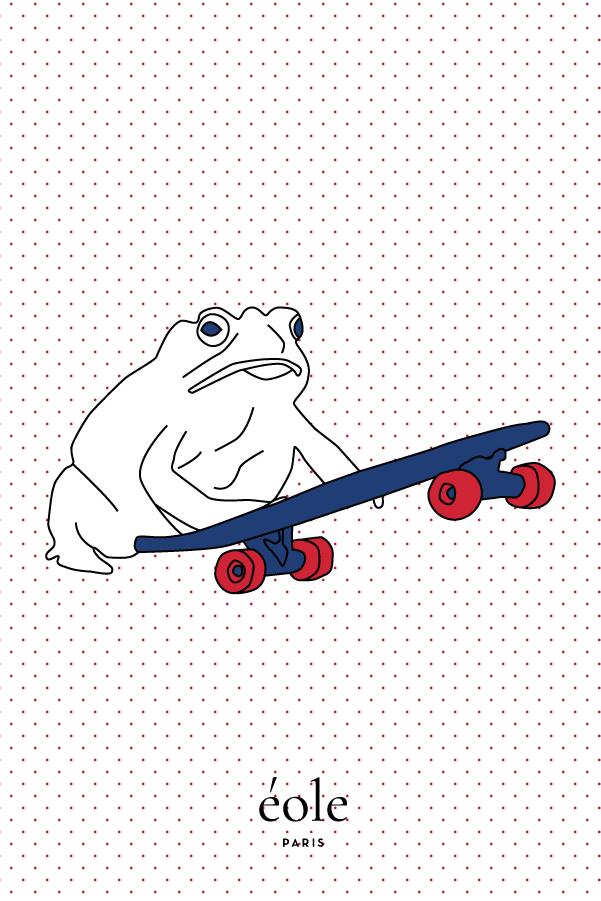 Grenouille et Skate blanc - EOLE Bleu
