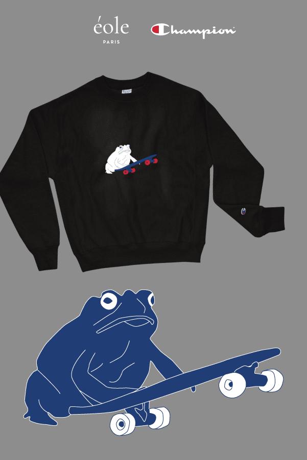 Sweat noir - Grenouille et Skate - EOLE Bleu