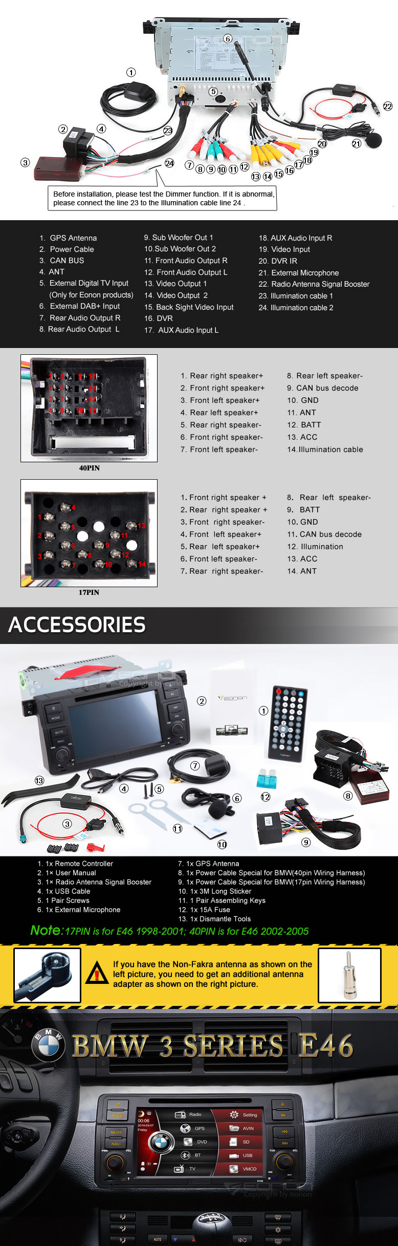 hight resolution of wince vehicle specific gps dv bmw e46 98 05 eonon 7 car hd dvd gps car iso stereo wiring