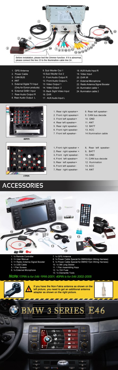small resolution of wince vehicle specific gps dv bmw e46 98 05 eonon 7 car hd dvd gps car iso stereo wiring