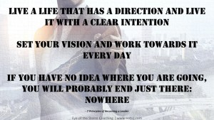 Live a life that has a direction and live it with a clear intention Set your vision and work towards it every day If you have no idea where you are going, you will probably end just there: nowhere
