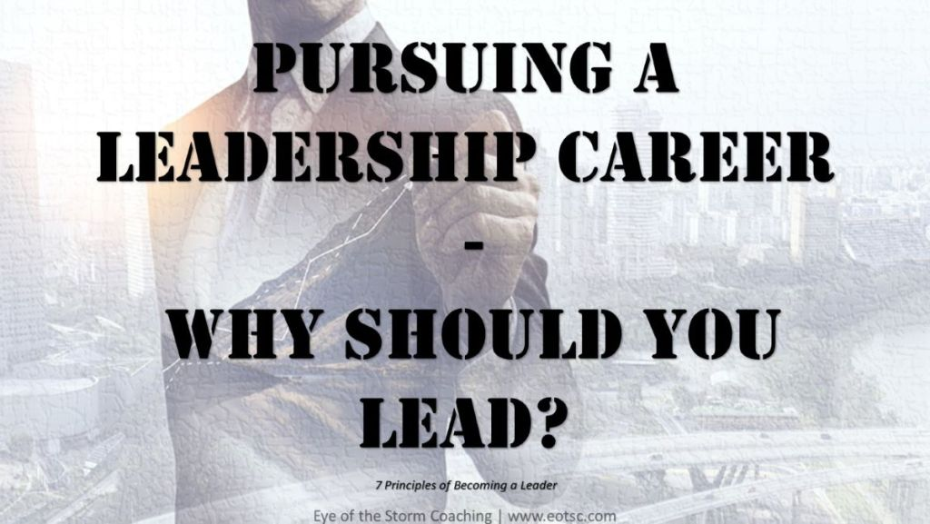 Leadership Skills: Pursuing a leadership career - why should you lead?