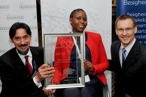 Nazeem Martin, Business Partners Limited; Emerging Entrepreneur: Tabisa Nomnganga, Bravo Promotions; and Jan Steenkamp, Sanlam