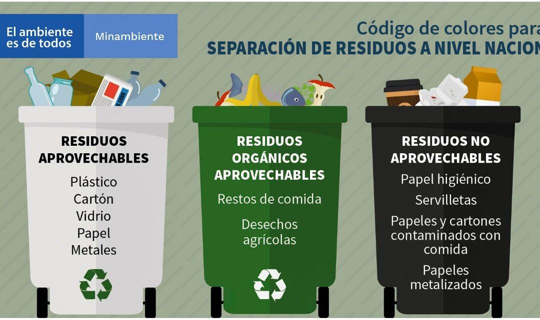 Gobierno unifica el código de colores para la separación de residuos en la fuente a nivel nacional