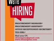 PROCUREMENT-MANAGERPROCUREMENT-ASSISTANT-OFFICE-RECEPTIONST-SECRETARY-TEA-GIRL