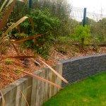 Epame paysages - Mur de soutènement gabion poutre bois - 2