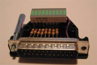 LEDs wired to parallel port circuit photo 1