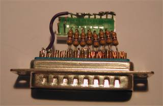 LEDs wired to parallel port circuit photo 2