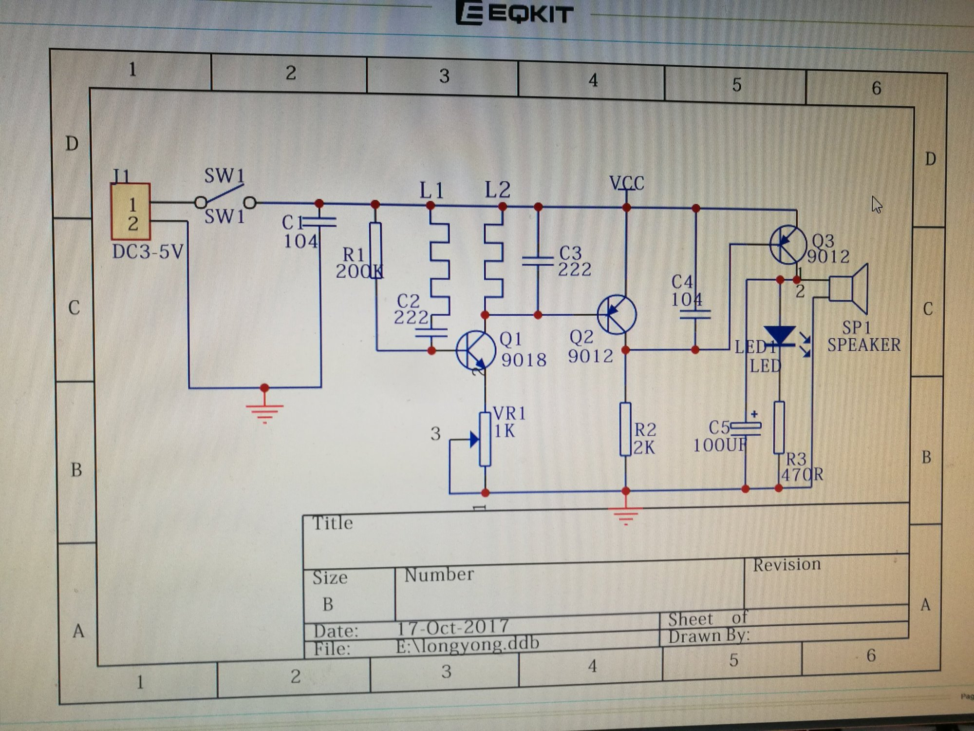 hight resolution of the circuit is an oscillator built around q1 it normally oscillates and keeps q2 turned