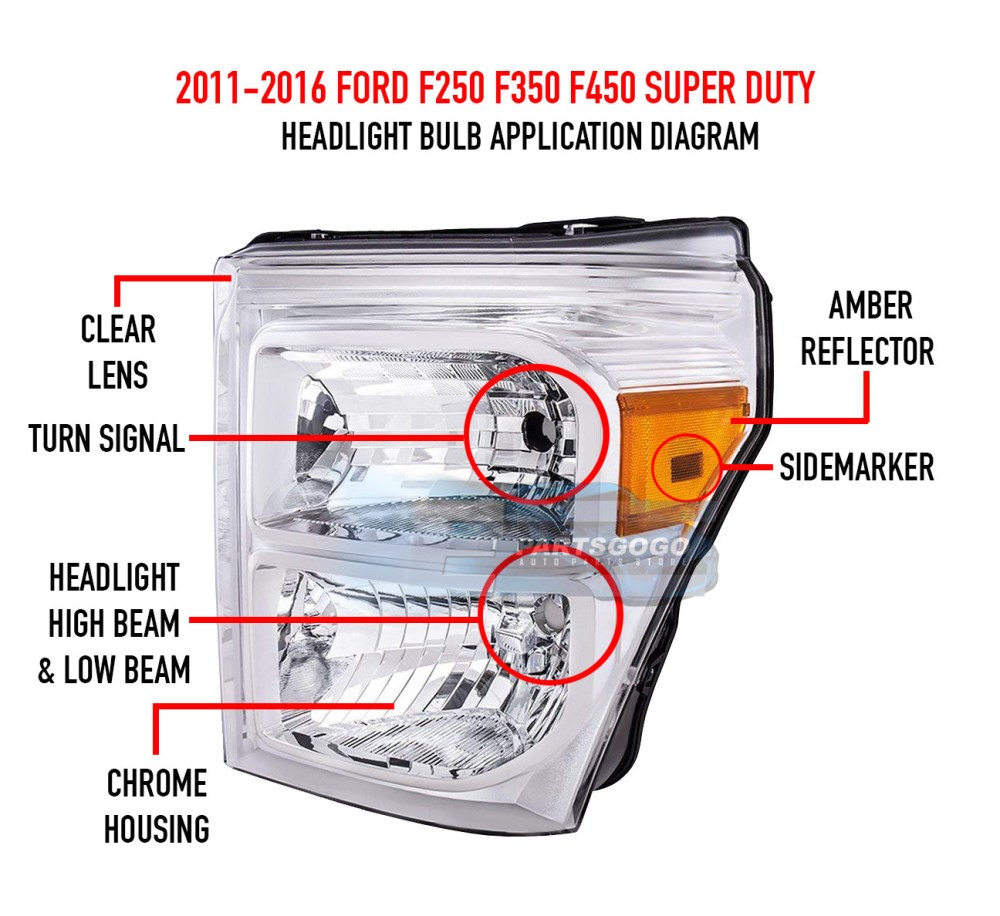 medium resolution of 11 16 ford f250 f350 f450 superduty chrome housing headlight amber reflector