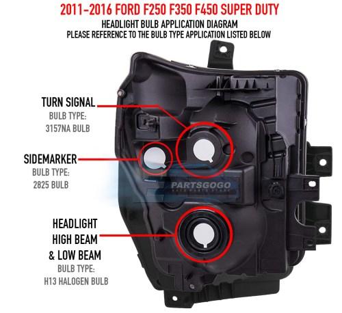 small resolution of 11 16 ford f250 f350 f450 superduty chrome housing headlight amber reflector