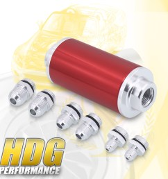 details about upgrade universal 6an 8an 10an fitting adapter fuel filter inlet outlet red [ 1296 x 1296 Pixel ]