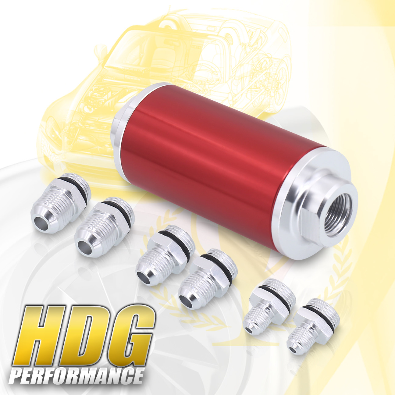 hight resolution of details about upgrade universal 6an 8an 10an fitting adapter fuel filter inlet outlet red