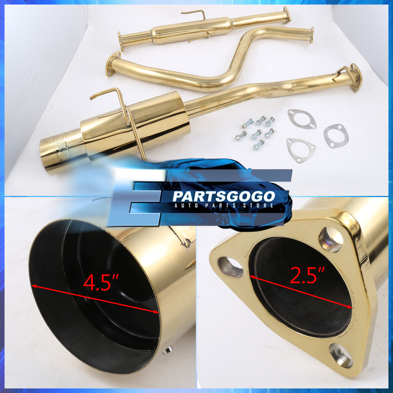 hight resolution of 4 5 muffler tip gold catback exhaust 2 5 piping for 2001 2005 honda civic ex
