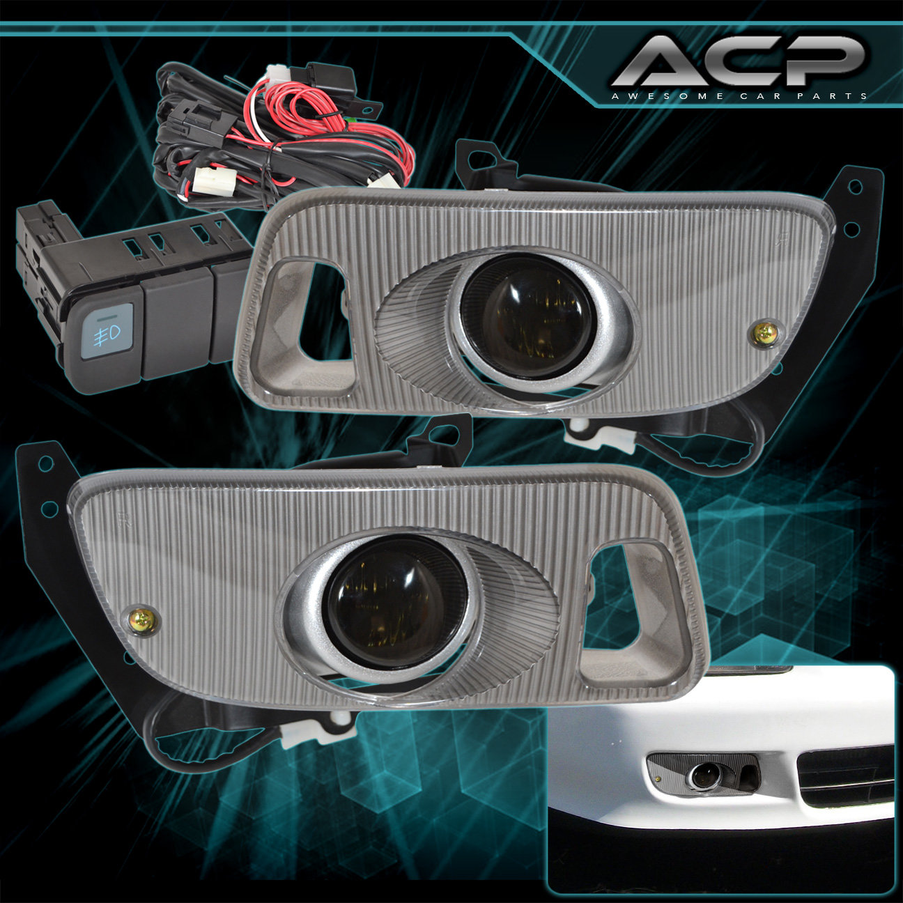 hight resolution of 92 95 honda civic smoked lens front bumper driving fog light lamps wiring kit