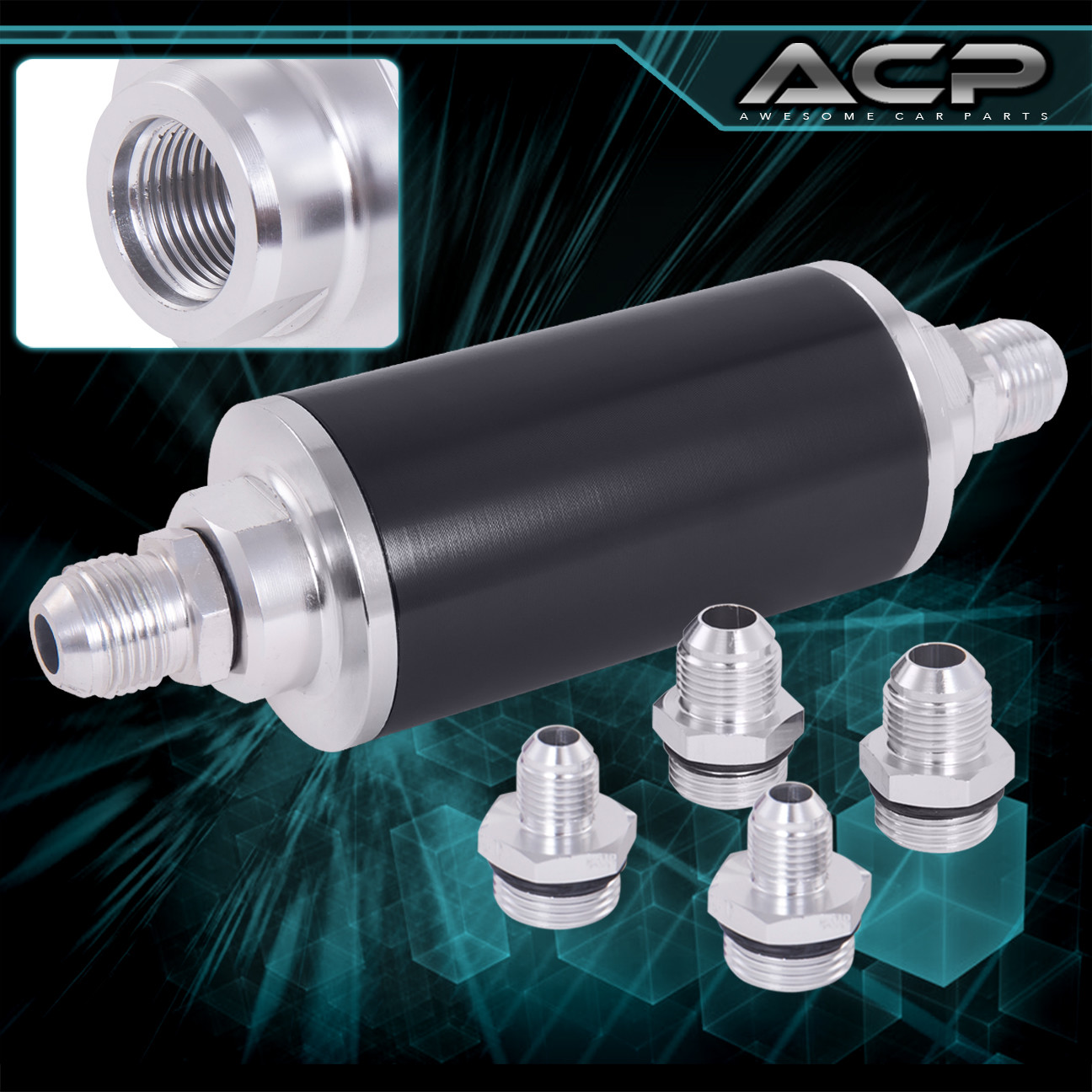 hight resolution of details about universal high pressure performance fuel filter aluminum can tank fitting black
